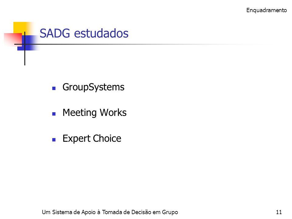 Um Sistema de Apoio à Tomada de Decisão em Grupo11 SADG estudados GroupSystems Meeting Works Expert Choice Enquadramento