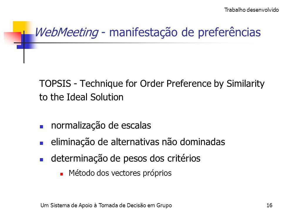 Um Sistema de Apoio à Tomada de Decisão em Grupo16 WebMeeting - manifestação de preferências TOPSIS - Technique for Order Preference by Similarity to