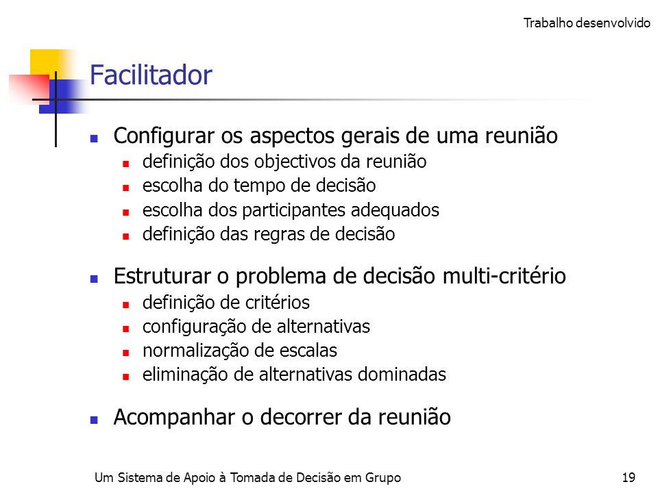 Um Sistema de Apoio à Tomada de Decisão em Grupo19 Facilitador Configurar os aspectos gerais de uma reunião definição dos objectivos da reunião escolh