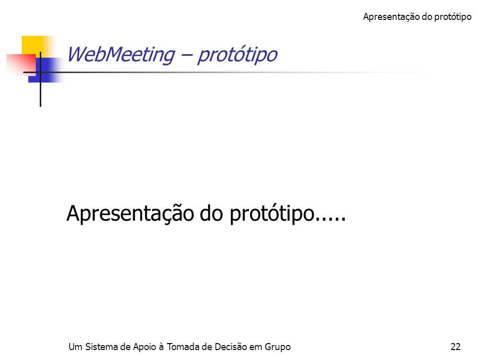 Um Sistema de Apoio à Tomada de Decisão em Grupo22 WebMeeting – protótipo Apresentação do protótipo..... Apresentação do protótipo