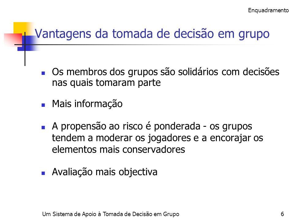 Um Sistema de Apoio à Tomada de Decisão em Grupo6 Vantagens da tomada de decisão em grupo Os membros dos grupos são solidários com decisões nas quais