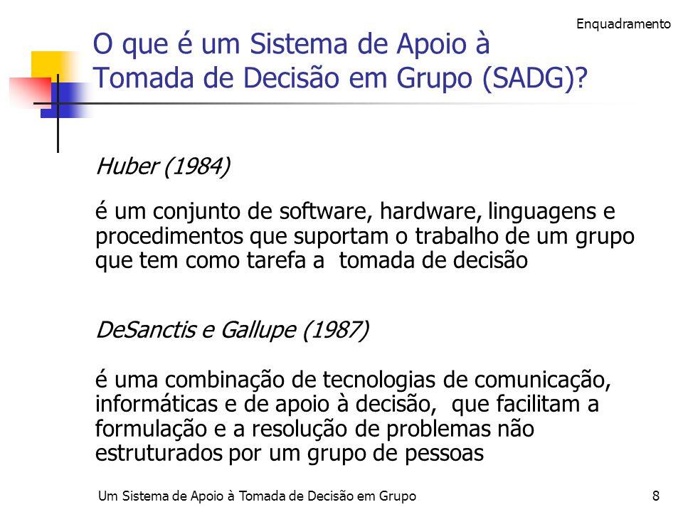 Um Sistema de Apoio à Tomada de Decisão em Grupo8 O que é um Sistema de Apoio à Tomada de Decisão em Grupo (SADG)? Huber (1984) é um conjunto de softw