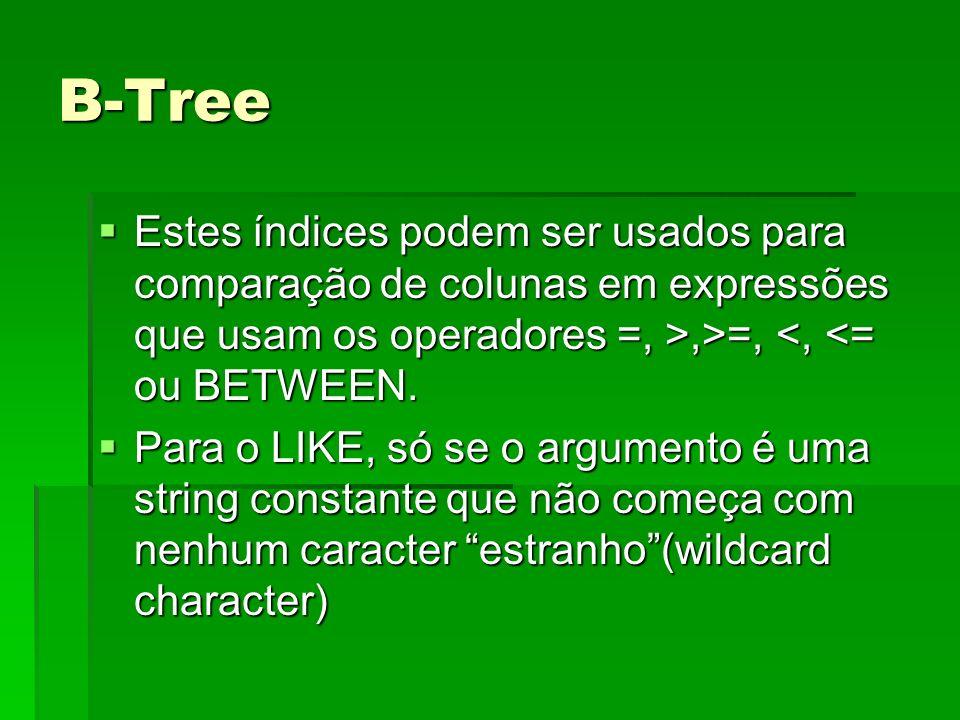B-Tree Estes índices podem ser usados para comparação de colunas em expressões que usam os operadores =, >,>=,,>=, <, <= ou BETWEEN. Para o LIKE, só s