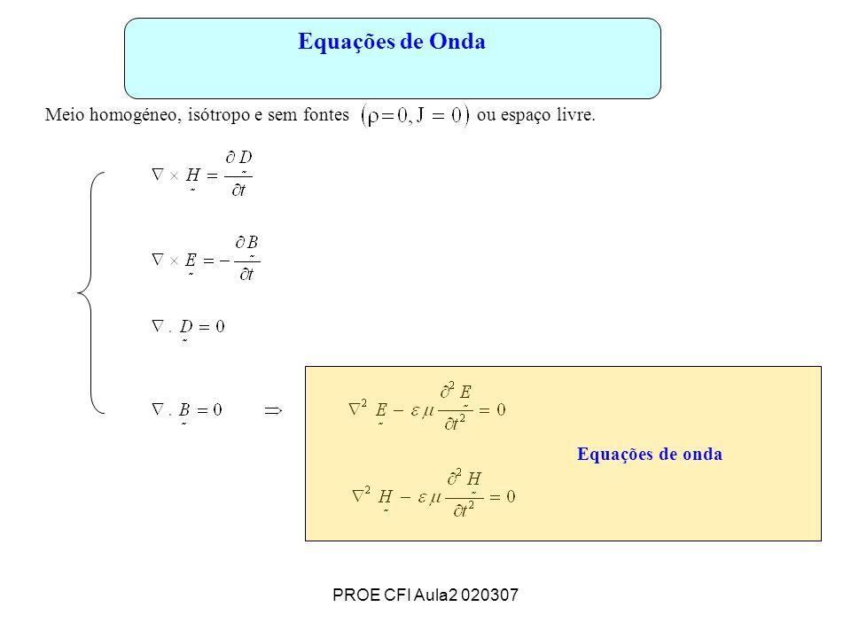 PROE CFI Aula2 020307 Equações de Onda Meio homogéneo, isótropo e sem fontes ou espaço livre. Equações de onda