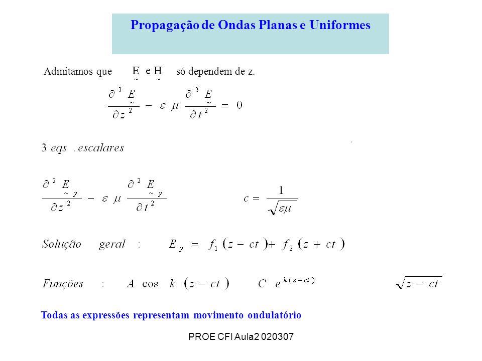 PROE CFI Aula2 020307 Propagação de Ondas Planas e Uniformes Todas as expressões representam movimento ondulatório Admitamos que só dependem de z.