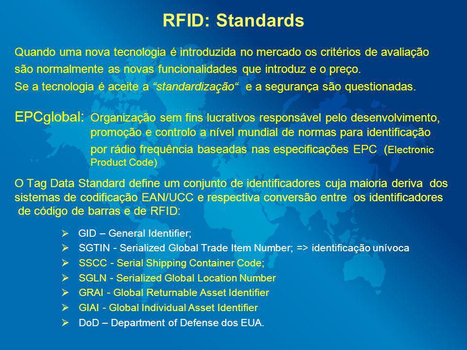 RFID: Standards Quando uma nova tecnologia é introduzida no mercado os critérios de avaliação são normalmente as novas funcionalidades que introduz e