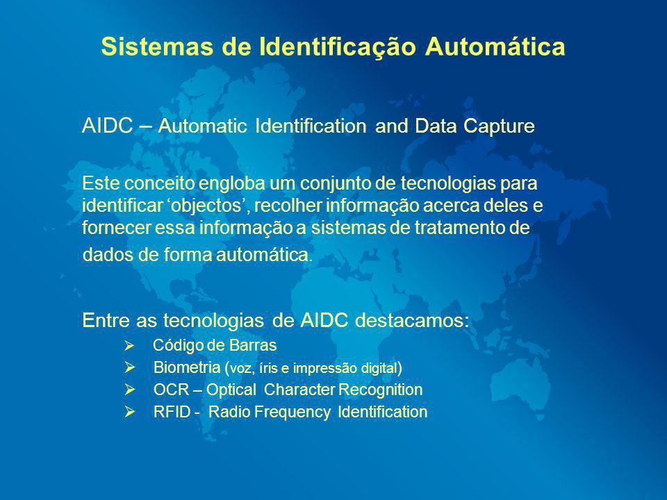 Sistemas de Identificação Automática AIDC – Automatic Identification and Data Capture Este conceito engloba um conjunto de tecnologias para identifica