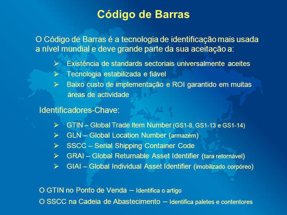 Código de Barras O Código de Barras é a tecnologia de identificação mais usada a nível mundial e deve grande parte da sua aceitação a: Existência de s