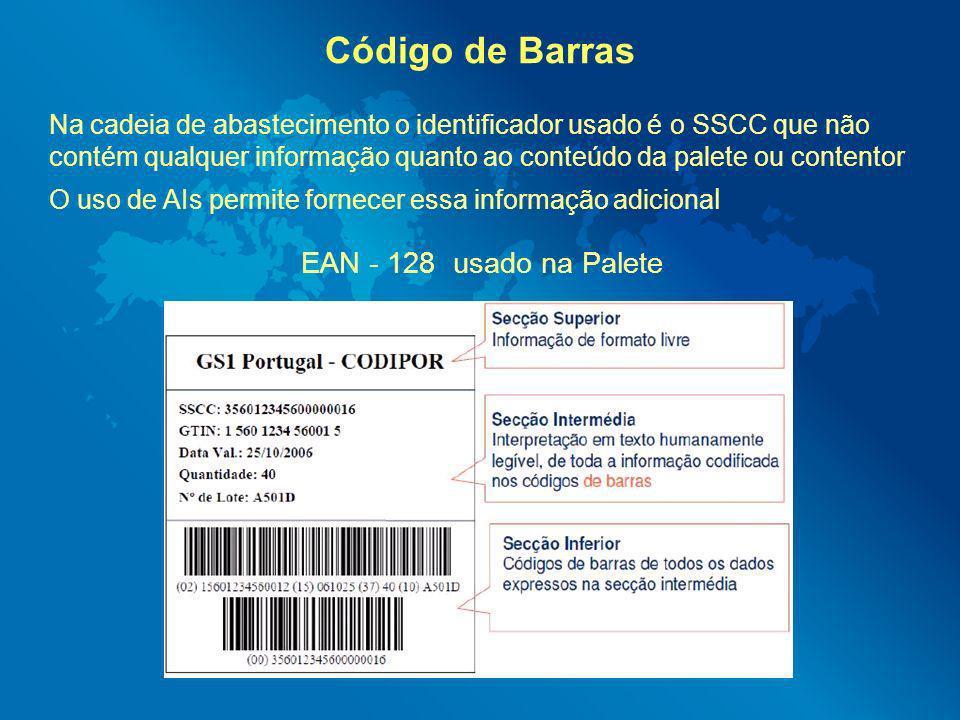 Código de Barras Na cadeia de abastecimento o identificador usado é o SSCC que não contém qualquer informação quanto ao conteúdo da palete ou contento