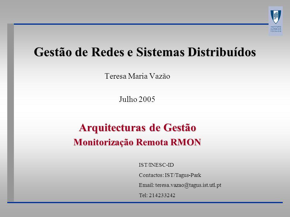 Gestão de Redes e Sistemas Distribuídos Teresa Maria Vazão Julho 2005 Arquitecturas de Gestão Monitorização Remota RMON IST/INESC-ID Contactos: IST/Ta
