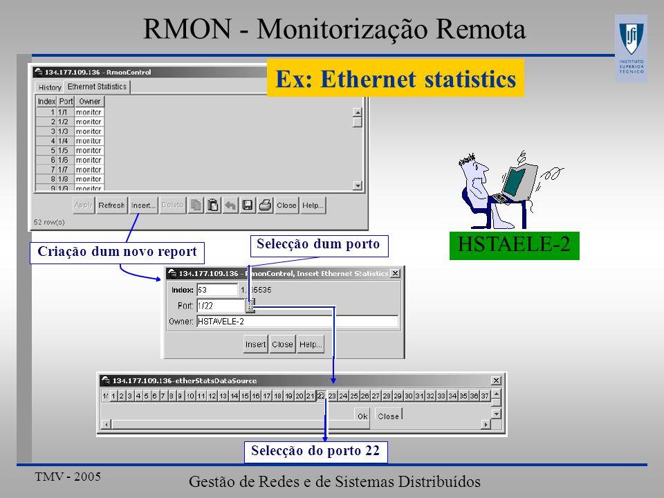 TMV - 2005 Gestão de Redes e de Sistemas Distribuídos RMON - Monitorização Remota Ex: Ethernet statistics Selecção do porto 22 HSTAELE-2 Criação dum n