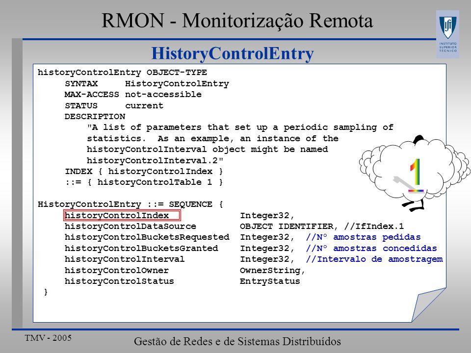 TMV - 2005 Gestão de Redes e de Sistemas Distribuídos HistoryControlEntry RMON - Monitorização Remota historyControlEntry OBJECT-TYPE SYNTAX HistoryCo