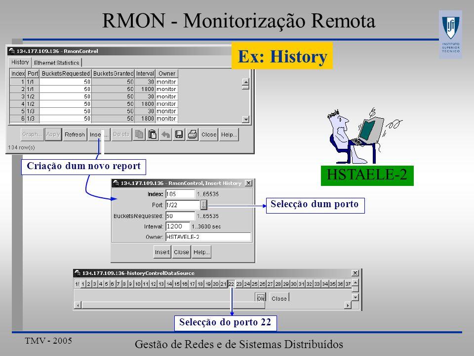 TMV - 2005 Gestão de Redes e de Sistemas Distribuídos RMON - Monitorização Remota Selecção do porto 22 HSTAELE-2 Selecção dum porto Ex: History Criaçã