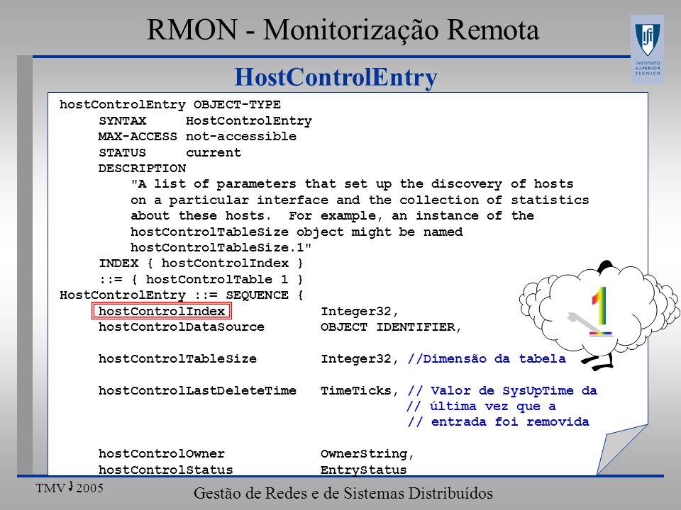 TMV - 2005 Gestão de Redes e de Sistemas Distribuídos HostControlEntry RMON - Monitorização Remota hostControlEntry OBJECT-TYPE SYNTAX HostControlEntr