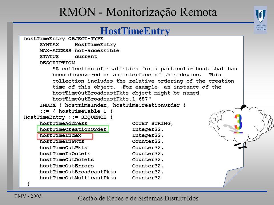 TMV - 2005 Gestão de Redes e de Sistemas Distribuídos HostTimeEntry RMON - Monitorização Remota hostTimeEntry OBJECT-TYPE SYNTAX HostTimeEntry MAX-ACC
