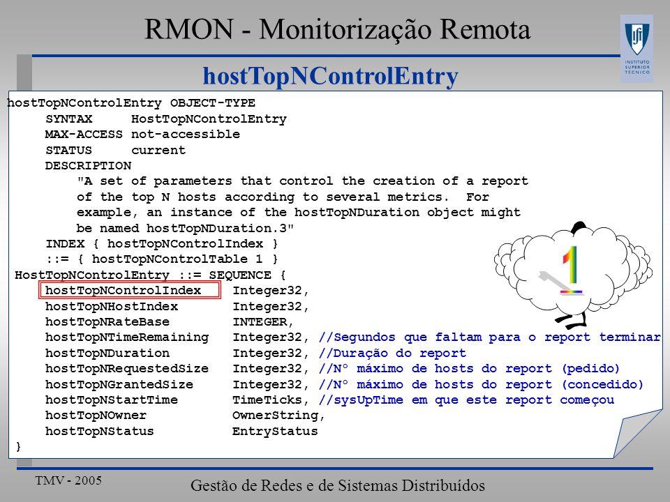 TMV - 2005 Gestão de Redes e de Sistemas Distribuídos hostTopNControlEntry RMON - Monitorização Remota hostTopNControlEntry OBJECT-TYPE SYNTAX HostTop