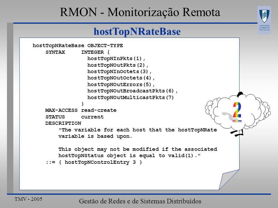 TMV - 2005 Gestão de Redes e de Sistemas Distribuídos hostTopNRateBase RMON - Monitorização Remota hostTopNRateBase OBJECT-TYPE SYNTAX INTEGER { hostT