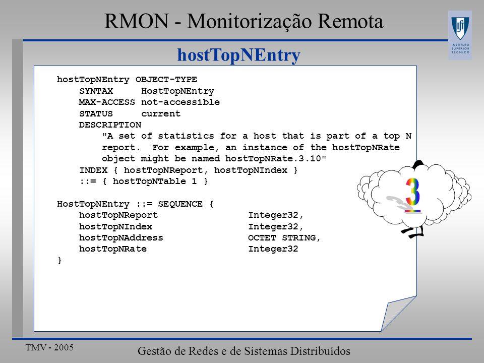 TMV - 2005 Gestão de Redes e de Sistemas Distribuídos hostTopNEntry RMON - Monitorização Remota hostTopNEntry OBJECT-TYPE SYNTAX HostTopNEntry MAX-ACC