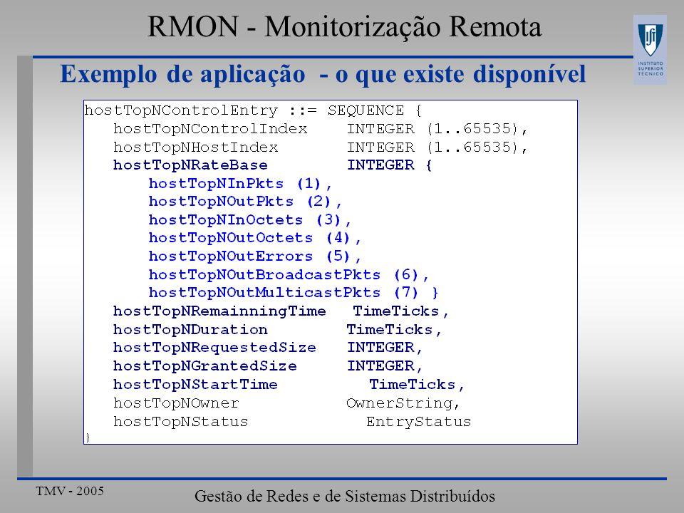 TMV - 2005 Gestão de Redes e de Sistemas Distribuídos RMON - Monitorização Remota Exemplo de aplicação - o que existe disponível