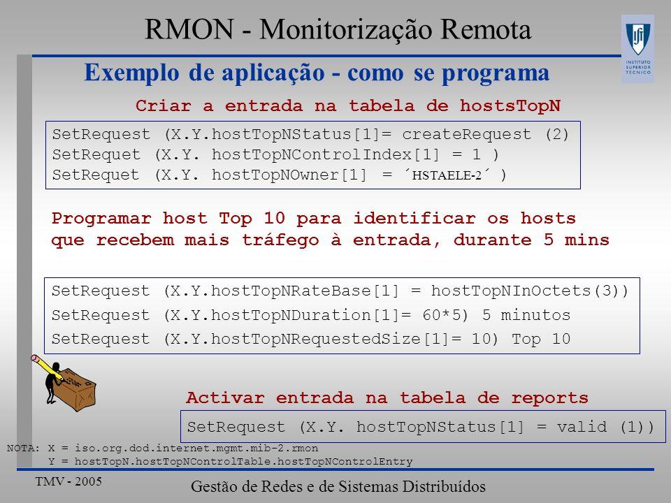 TMV - 2005 Gestão de Redes e de Sistemas Distribuídos RMON - Monitorização Remota Exemplo de aplicação - como se programa NOTA: X = iso.org.dod.intern