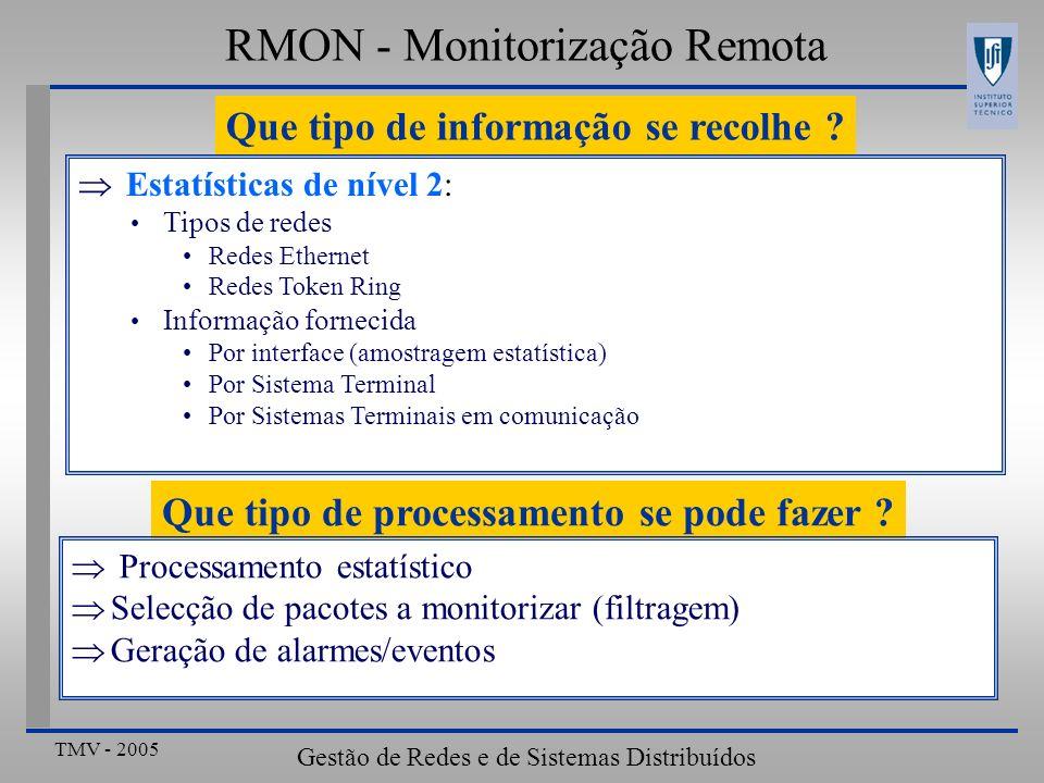 TMV - 2005 Gestão de Redes e de Sistemas Distribuídos RMON - Monitorização Remota Que tipo de informação se recolhe ? Estatísticas de nível 2: Tipos d