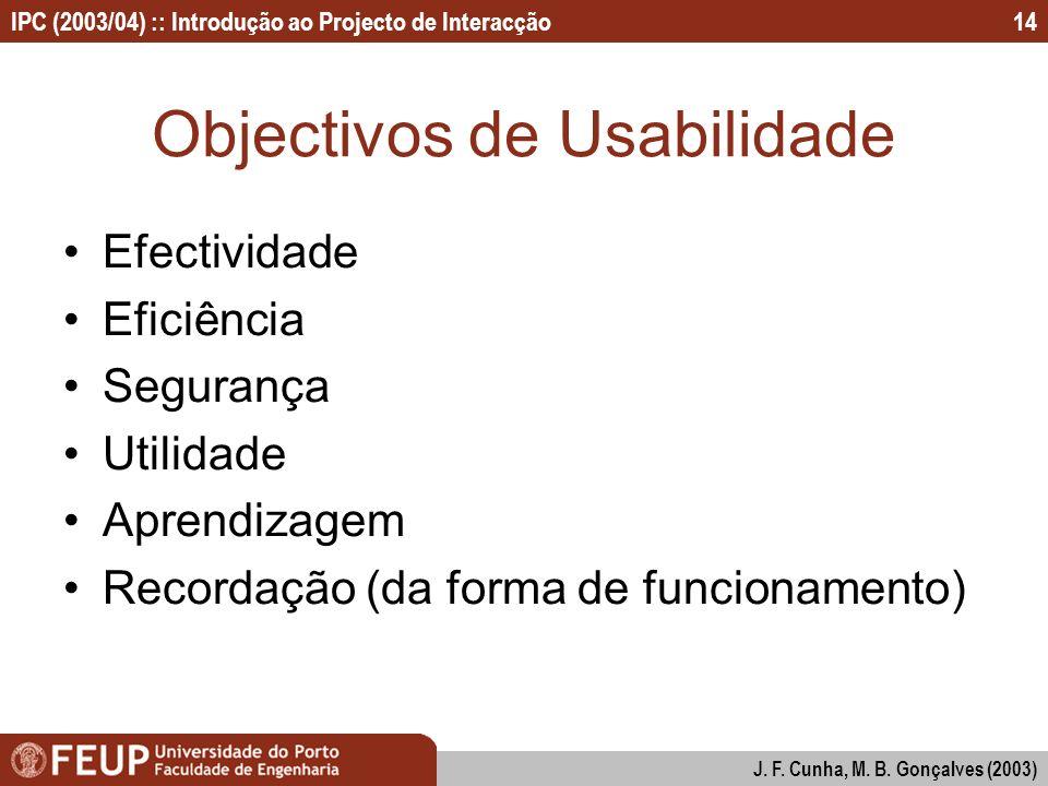 IPC (2003/04) :: Introdução ao Projecto de Interacção J. F. Cunha, M. B. Gonçalves (2003) 14 Objectivos de Usabilidade Efectividade Eficiência Seguran