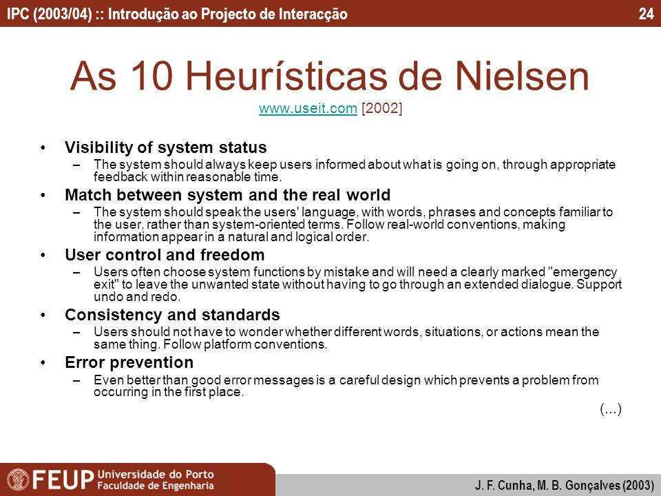 IPC (2003/04) :: Introdução ao Projecto de Interacção J. F. Cunha, M. B. Gonçalves (2003) 24 As 10 Heurísticas de Nielsen www.useit.com [2002] www.use
