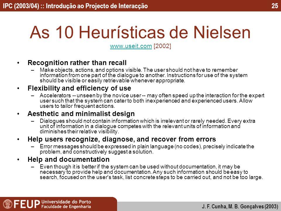IPC (2003/04) :: Introdução ao Projecto de Interacção J. F. Cunha, M. B. Gonçalves (2003) 25 As 10 Heurísticas de Nielsen www.useit.com [2002] www.use