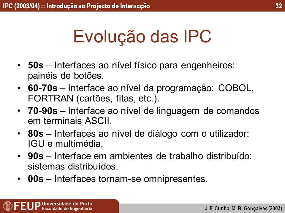 IPC (2003/04) :: Introdução ao Projecto de Interacção J. F. Cunha, M. B. Gonçalves (2003) 32 Evolução das IPC 50s – Interfaces ao nível físico para en
