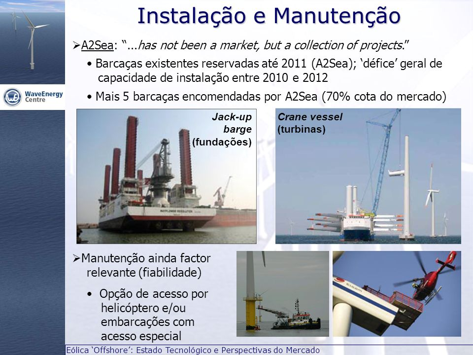 Eólica Offshore: Estado Tecnológico e Perspectivas do Mercado A2Sea:...has not been a market, but a collection of projects. Barcaças existentes reserv