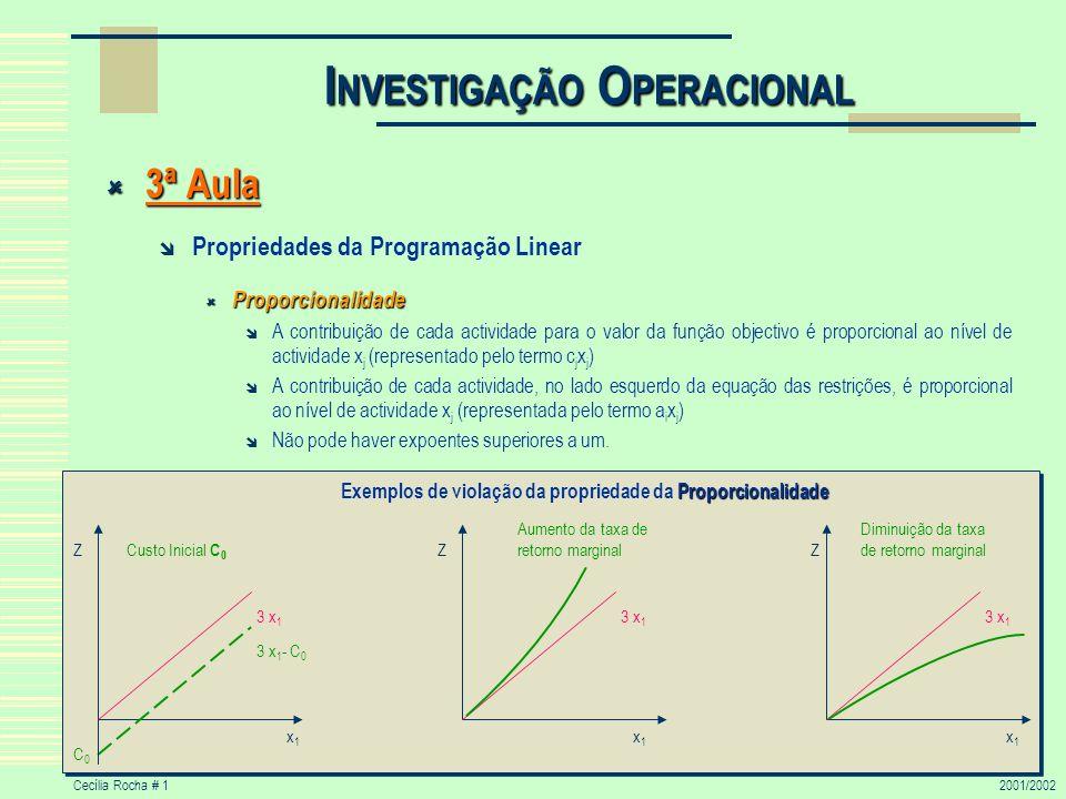 Cecília Rocha # 12001/2002 I NVESTIGAÇÃO O PERACIONAL 3ª Aula 3ª Aula Propriedades da Programação Linear Proporcionalidade Proporcionalidade A contrib