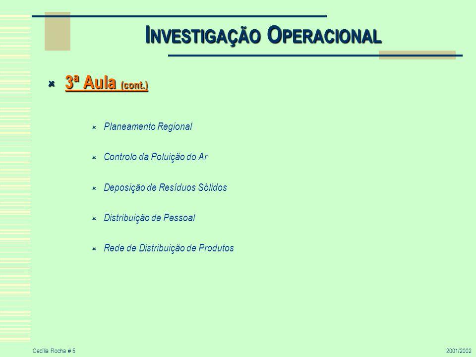 Cecília Rocha # 52001/2002 I NVESTIGAÇÃO O PERACIONAL 3ª Aula (cont.) 3ª Aula (cont.) Planeamento Regional Controlo da Poluição do Ar Deposição de Res