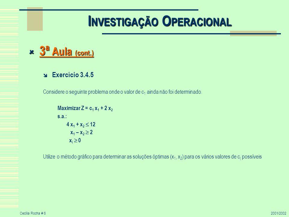 Cecília Rocha # 62001/2002 I NVESTIGAÇÃO O PERACIONAL 3ª Aula (cont.) 3ª Aula (cont.) Exercício 3.4.5 Considere o seguinte problema onde o valor de c