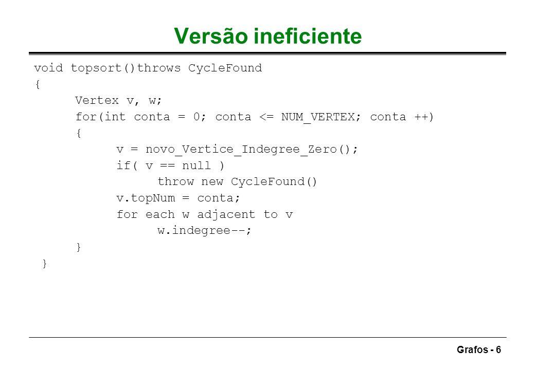 Grafos - 27 Algoritmo com custo negativo pode ser necessário processar cada vértice mais do que uma vez (max: |V|) actualização pode ser executada O(|E|.|V|), usando listas de adjacência void weightedNegative( Vertex s) { Vertex v, w; Queue q; q = new Queue(); q.enqueue (s); while( !q.isEmpty() ) { v = q.dequeue(); for each w adjacent to v if v.dist + c(v,w) < w.dist ) { w.dist = v.dist + c(v,w); w.path = v; if(w not in q) ) q.enqueue(w); } ciclo de custo negativo algoritmo não termina teste de terminação: algum vértice sai da fila mais do que |V|+1 vezes
