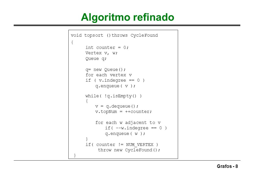 Grafos - 49 Pseudocódigo (Kruskal) void kruskal() { DisjSet s; PriorityQueue h; Vertex u, v; SetType uset, vset; Edge e, int edgesAccepted = 0; h = readGraphIntoHeapArray(); h.buildHeap(); s = new DisjSet(NUM_VERTICES); while(edgesAccepted < NUM_VERTICES -1 ) { e = h.deleteMin();// e = (u,v) uset = s.find(u); vset = s.find(v); if (uset != vset) { edgesAccepted++; S.union(uset, vset); } }}