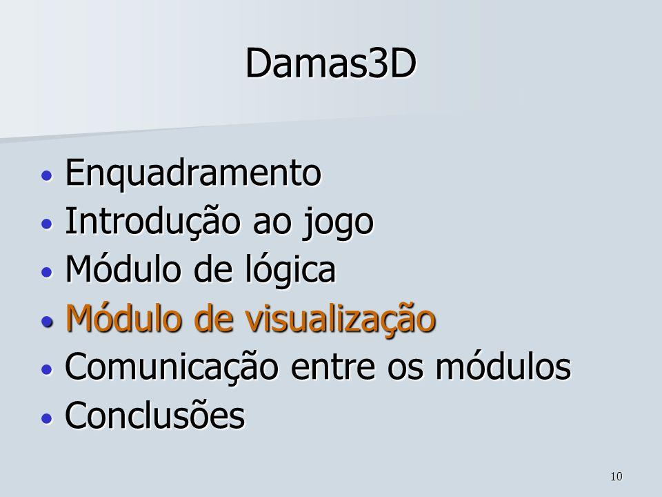 10 Damas3D Enquadramento Enquadramento Introdução ao jogo Introdução ao jogo Módulo de lógica Módulo de lógica Módulo de visualização Módulo de visual