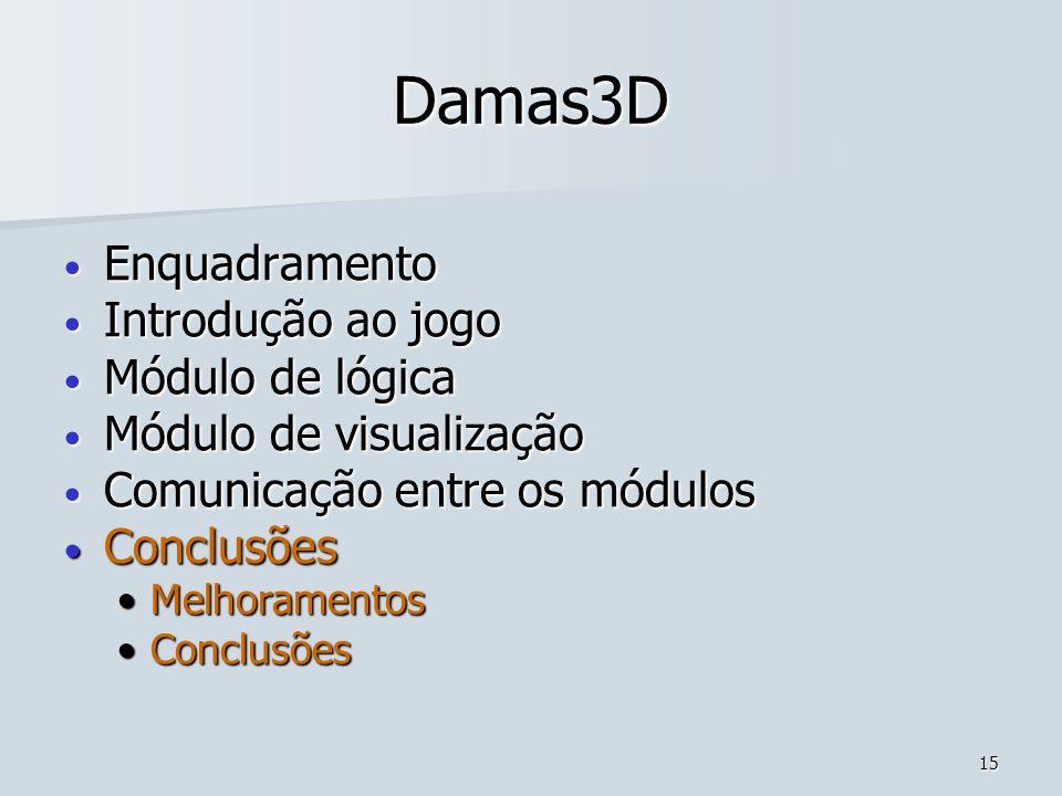 15 Damas3D Enquadramento Enquadramento Introdução ao jogo Introdução ao jogo Módulo de lógica Módulo de lógica Módulo de visualização Módulo de visual