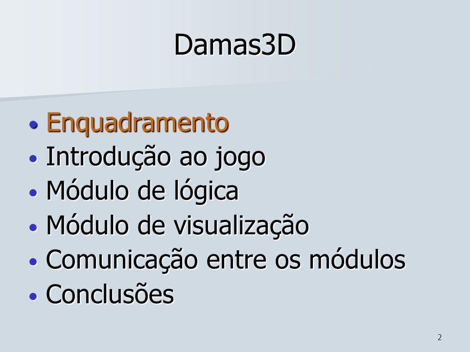 13 Damas3D Enquadramento Enquadramento Introdução ao jogo Introdução ao jogo Módulo de lógica Módulo de lógica Módulo de visualização Módulo de visualização Comunicação entre os módulos Comunicação entre os módulos Conclusões Conclusões