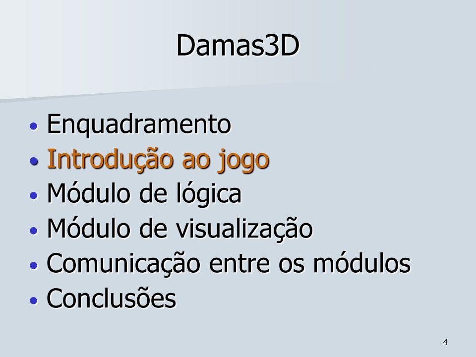 15 Damas3D Enquadramento Enquadramento Introdução ao jogo Introdução ao jogo Módulo de lógica Módulo de lógica Módulo de visualização Módulo de visualização Comunicação entre os módulos Comunicação entre os módulos Conclusões Conclusões MelhoramentosMelhoramentos ConclusõesConclusões