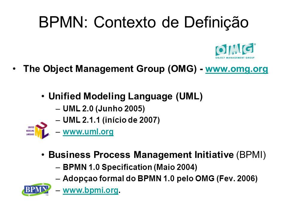BPMN: Contexto de Definição The Object Management Group (OMG) - www.omg.orgwww.omg.org Unified Modeling Language (UML) –UML 2.0 (Junho 2005) –UML 2.1.