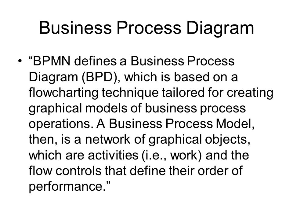 Business Process Diagram BPMN defines a Business Process Diagram (BPD), which is based on a flowcharting technique tailored for creating graphical mod