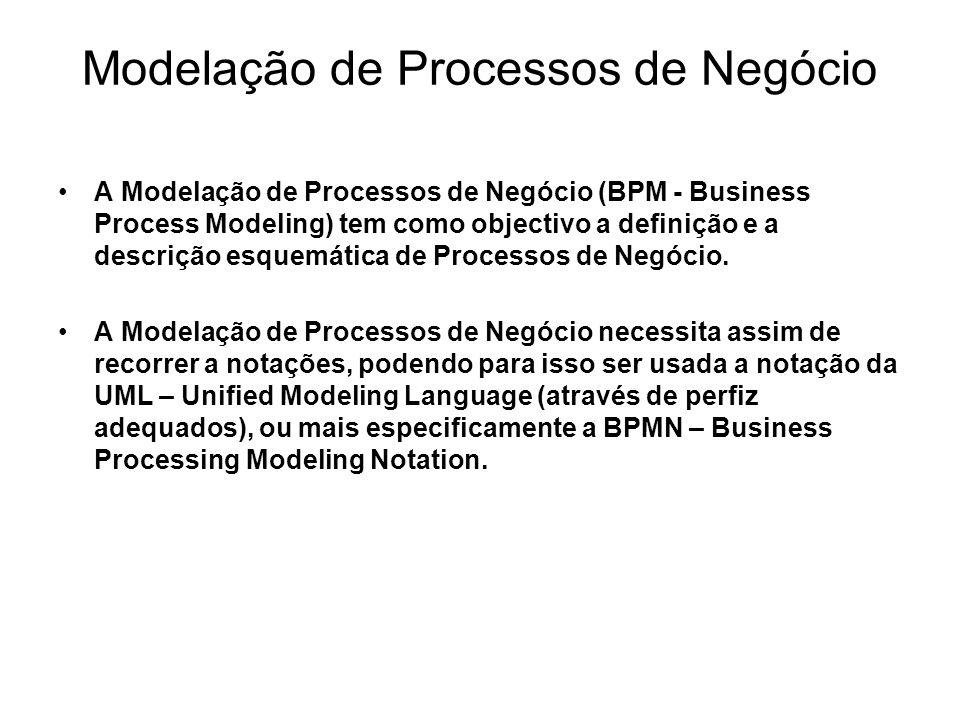 Modelação de Processos de Negócio A Modelação de Processos de Negócio (BPM - Business Process Modeling) tem como objectivo a definição e a descrição e