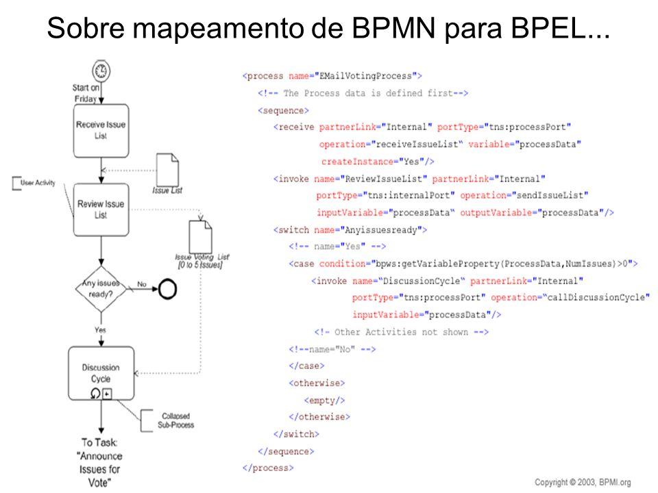 Sobre mapeamento de BPMN para BPEL...