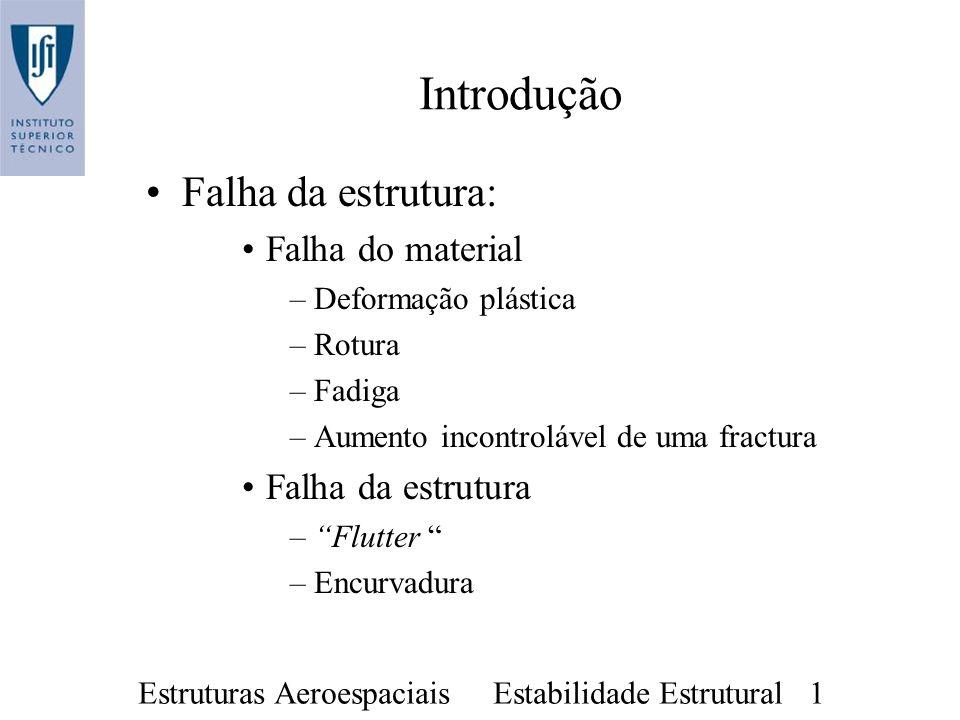 Estruturas Aeroespaciais Estabilidade Estrutural 1 Introdução Falha da estrutura: Falha do material –Deformação plástica –Rotura –Fadiga –Aumento inco