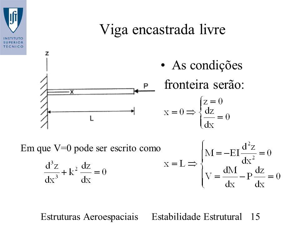 Estruturas Aeroespaciais Estabilidade Estrutural 15 As condições fronteira serão: Viga encastrada livre Em que V=0 pode ser escrito como