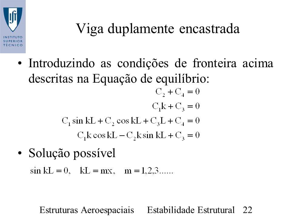 Estruturas Aeroespaciais Estabilidade Estrutural 22 Introduzindo as condições de fronteira acima descritas na Equação de equilíbrio: Solução possível