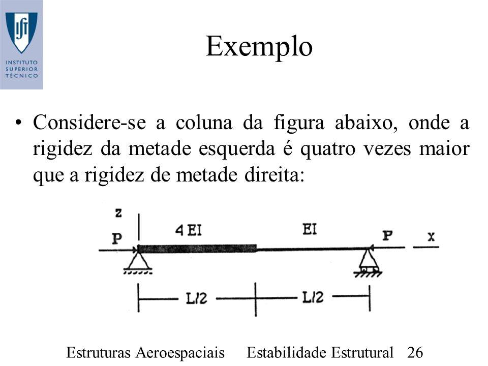 Estruturas Aeroespaciais Estabilidade Estrutural 26 Exemplo Considere-se a coluna da figura abaixo, onde a rigidez da metade esquerda é quatro vezes m