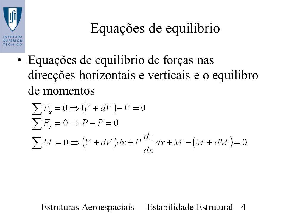 Estruturas Aeroespaciais Estabilidade Estrutural 4 Equações de equilíbrio Equações de equilíbrio de forças nas direcções horizontais e verticais e o e