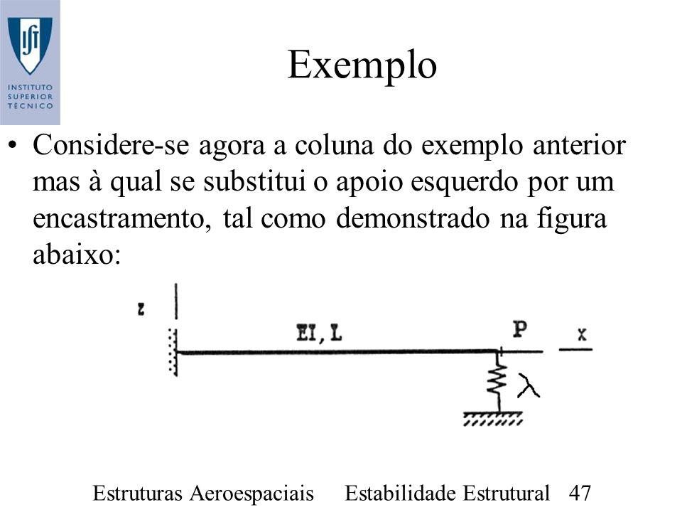 Estruturas Aeroespaciais Estabilidade Estrutural 47 Exemplo Considere-se agora a coluna do exemplo anterior mas à qual se substitui o apoio esquerdo p