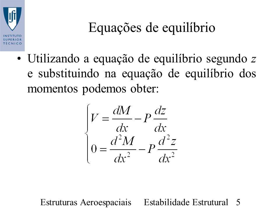Estruturas Aeroespaciais Estabilidade Estrutural 5 Equações de equilíbrio Utilizando a equação de equilíbrio segundo z e substituindo na equação de eq